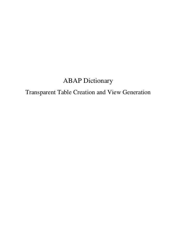 ABAP DictionaryTransparent Table Creation and View Generation