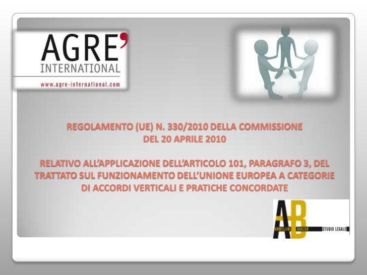 REGOLAMENTO (UE) N. 330/2010 DELLA COMMISSIONE                    DEL 20 APRILE 2010 RELATIVO ALL'APPLICAZIONE DELL'ARTICO...