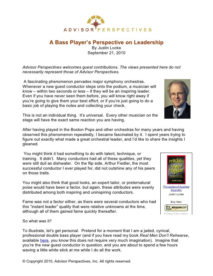 A Bass Players Perspective On Leadership