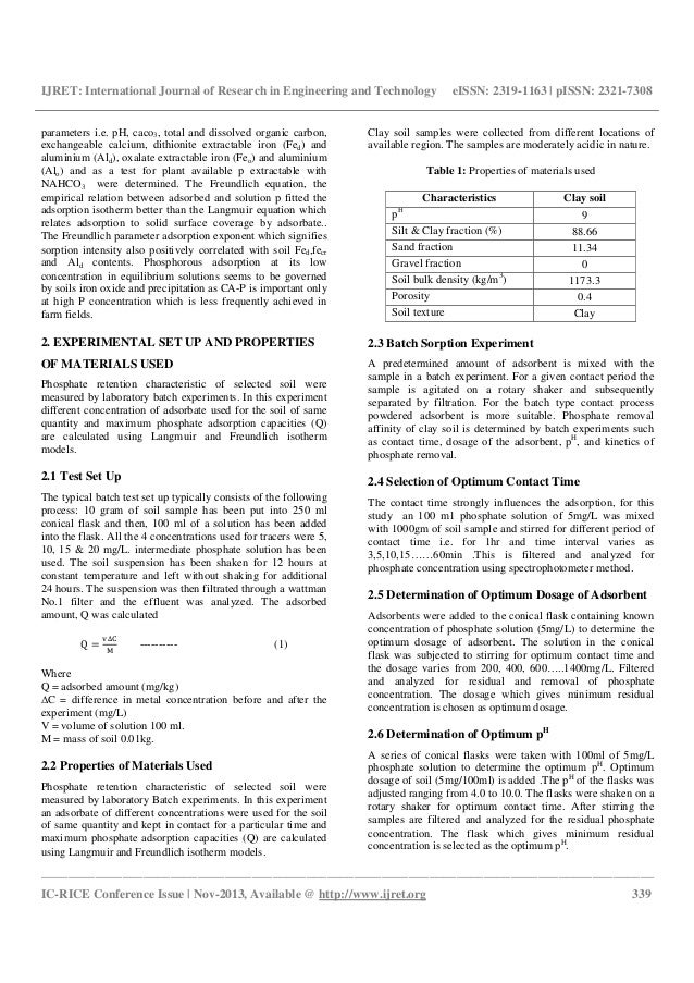 A batch study of phosphate adsorption characteristics on for Soil quality parameters