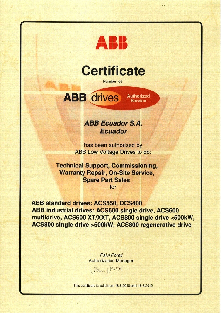 ABB drives Authorized Service Certificate 2010-2012