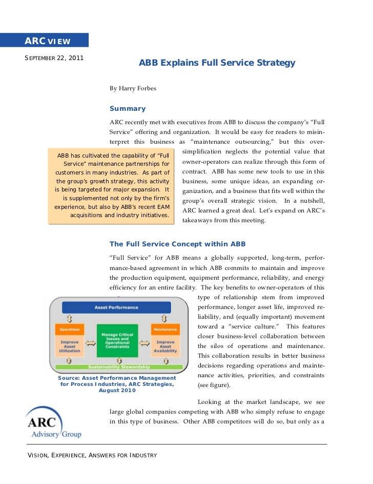 ARC VIEWSEPTEMBER 22, 2011                                        ABB Explains Full Service Strategy                      ...