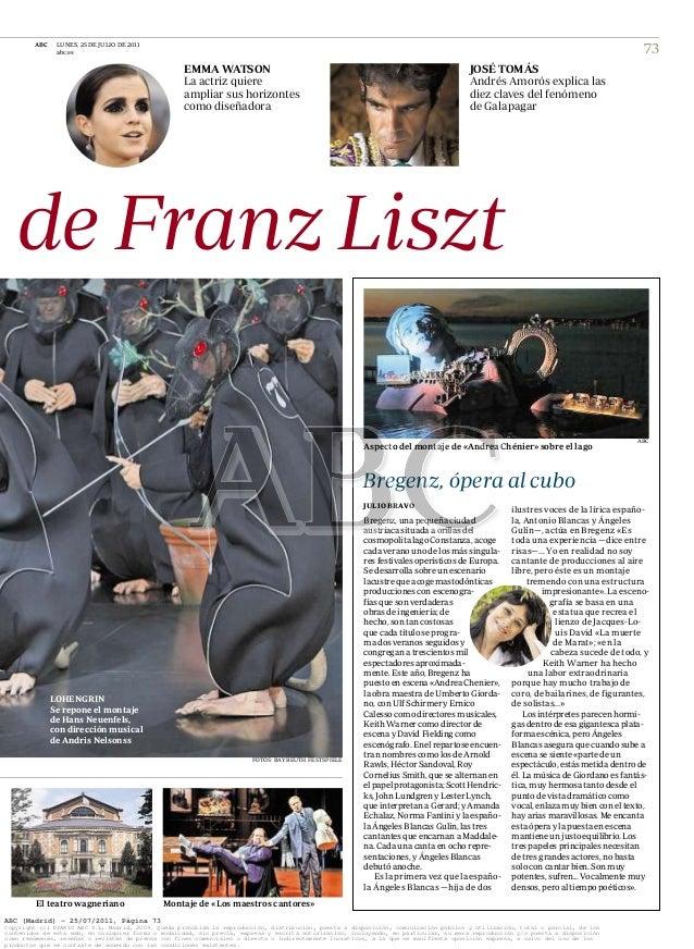 ABC LUNES, 25 DE JULIO DE 2011 abc.es 73 . EMMA WATSON La actriz quiere ampliar sus horizontes como diseñadora JOSÉ TOMÁS ...