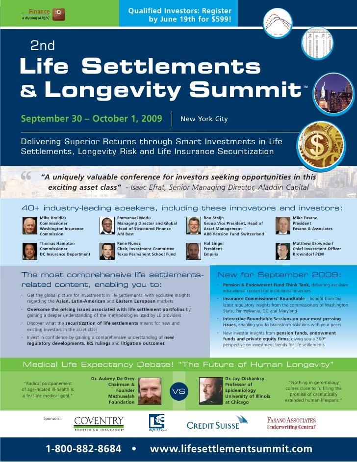 2nd Life Settlements & Longevity Summit