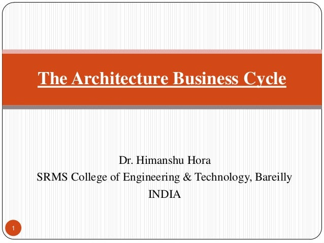 1 The Architecture Business Cycle Dr. Himanshu Hora SRMS College of Engineering & Technology, Bareilly INDIA