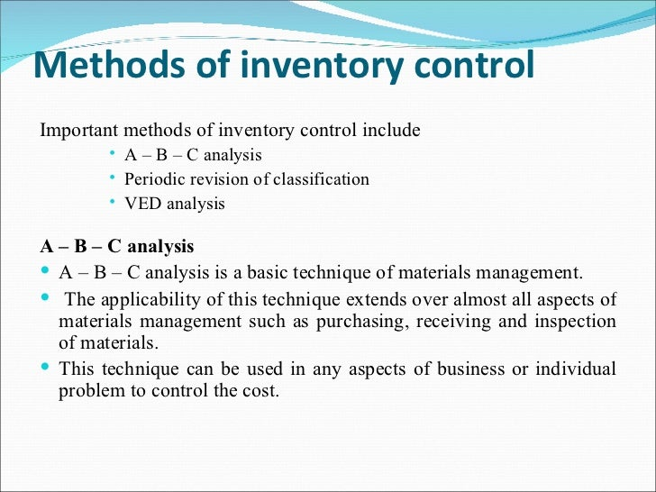 abc analysis for inventory management For drug inventory management, if we consider abc analysis alone, we effectively control the recommended 47 drugs from group a, but will be compromising on the availability of drugs of vital nature from b and c categories (2 +19.