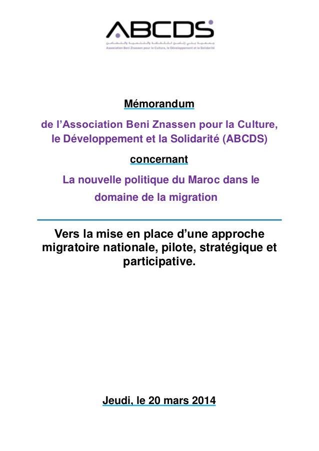 Mémorandum de l'Association Beni Znassen pour la Culture, le Développement et la Solidarité (ABCDS) concernant La nouvelle...
