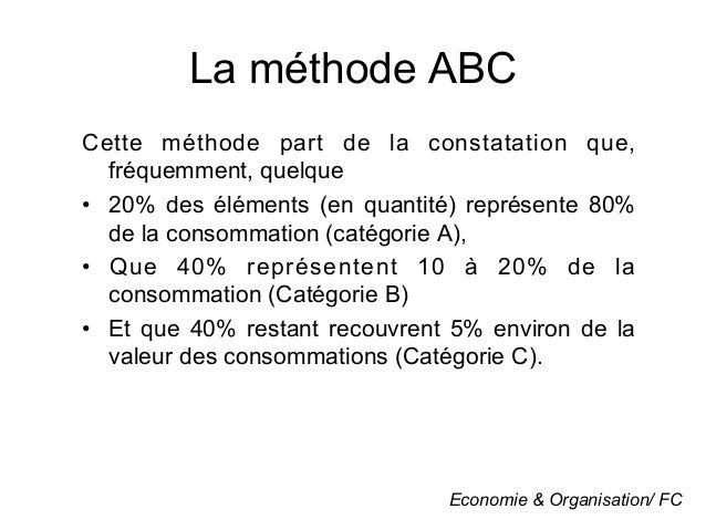 La méthode ABCCette méthode part de la constatation que,   fréquemment, quelque• 20% des éléments (en quantité) représent...