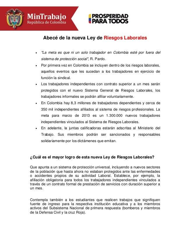 """Abecé de la nueva Ley de Riesgos Laborales   """"La meta es que ni un solo trabajador en Colombia esté por fuera del sistema..."""