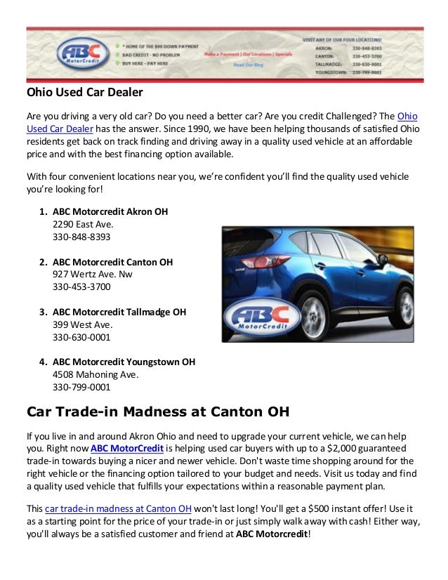 Used car dealer specials canton ohio for Abc motor credit reviews