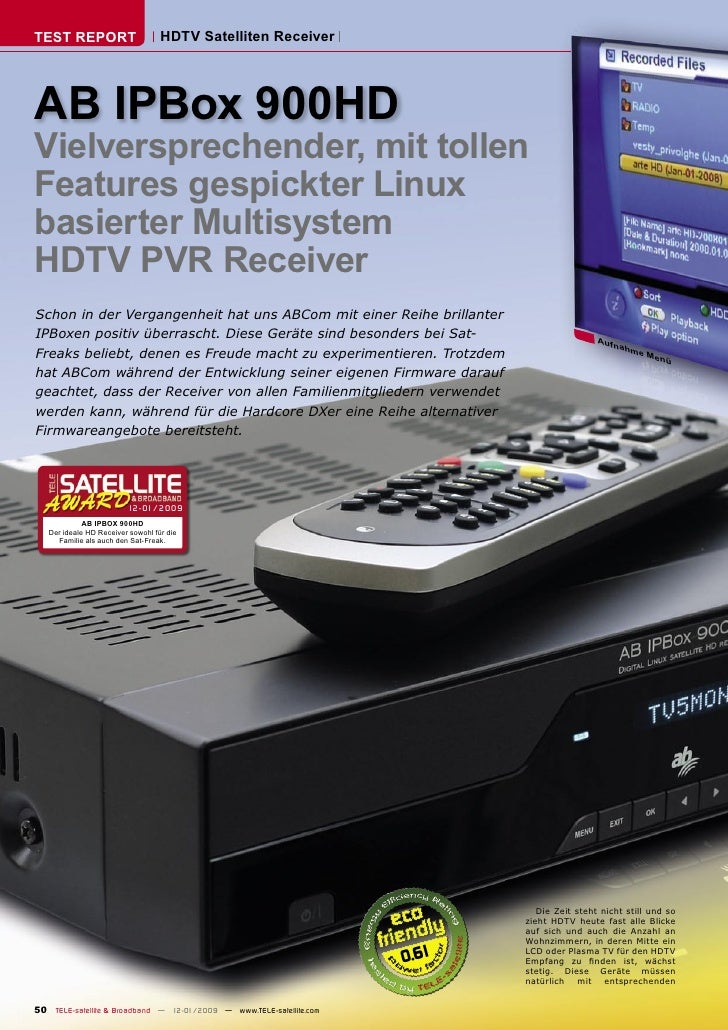 TEST REPORT                        HDTV Satelliten Receiver     AB IPBox 900HD Vielversprechender, mit tollen Features ges...