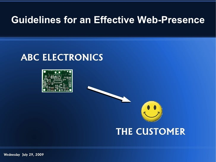 Guidelines for an Effective Web-Presence            ABC ELECTRONICS                                THE CUSTOMER  Wednesday...
