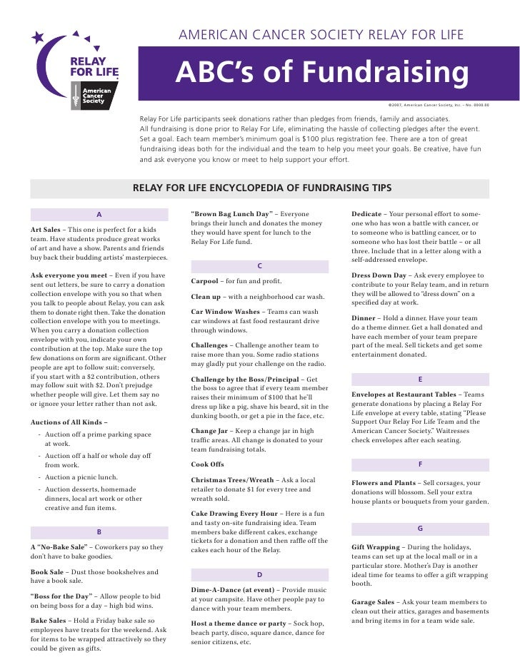 AMERICAN CANCER SOCIETY RELAY FOR LIFE                                                   ABC's of Fundraising             ...
