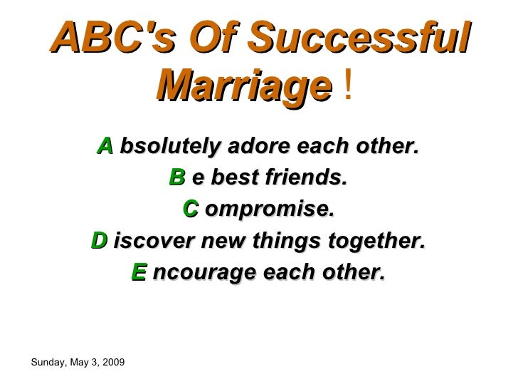 ABCs Of Successful Marriage !