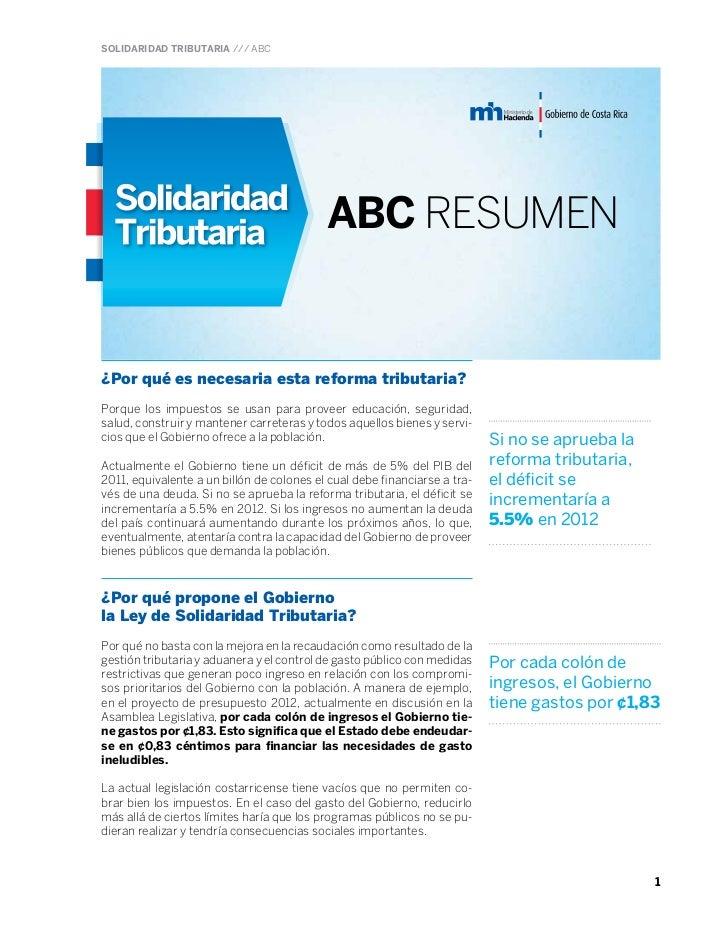 SOLIDARIDAD TRIBUTARIA /// ABC                                           ABC RESUMEN¿Por qué es necesaria esta reforma tri...