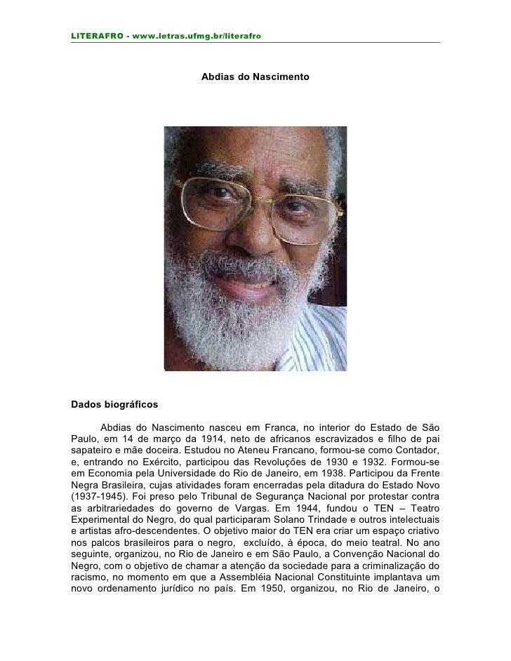 LITERAFRO - www.letras.ufmg.br/literafro                                Abdias do Nascimento     Dados biográficos        ...