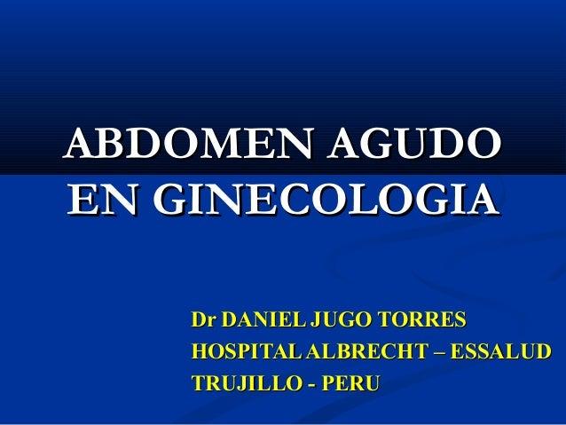 Abdomen agudo en ginecologia