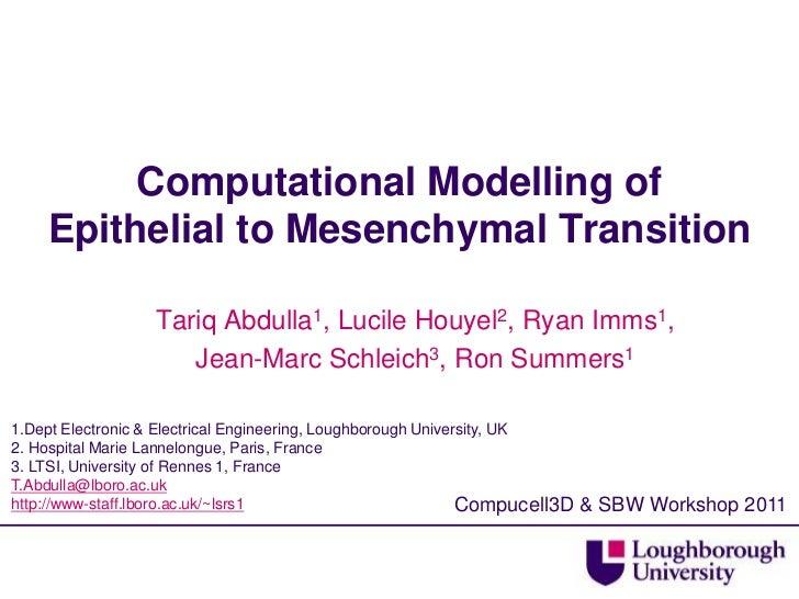 Computational Modelling of Epithelial to Mesenchymal Transition<br />Tariq Abdulla1, Lucile Houyel2, Ryan Imms1, <br />Jea...