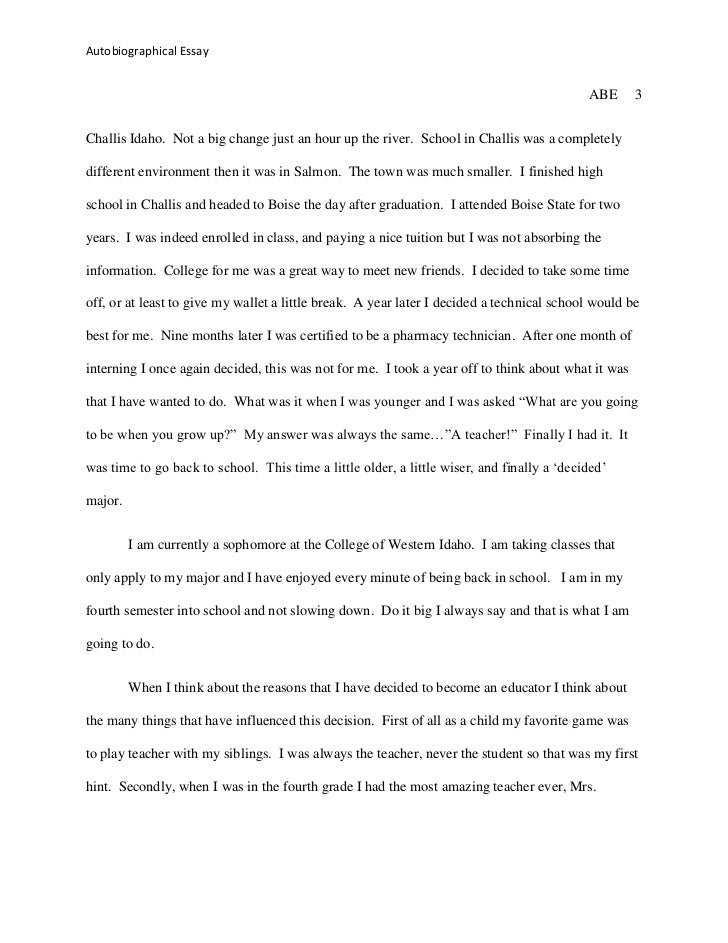 Autobiography of myself essay