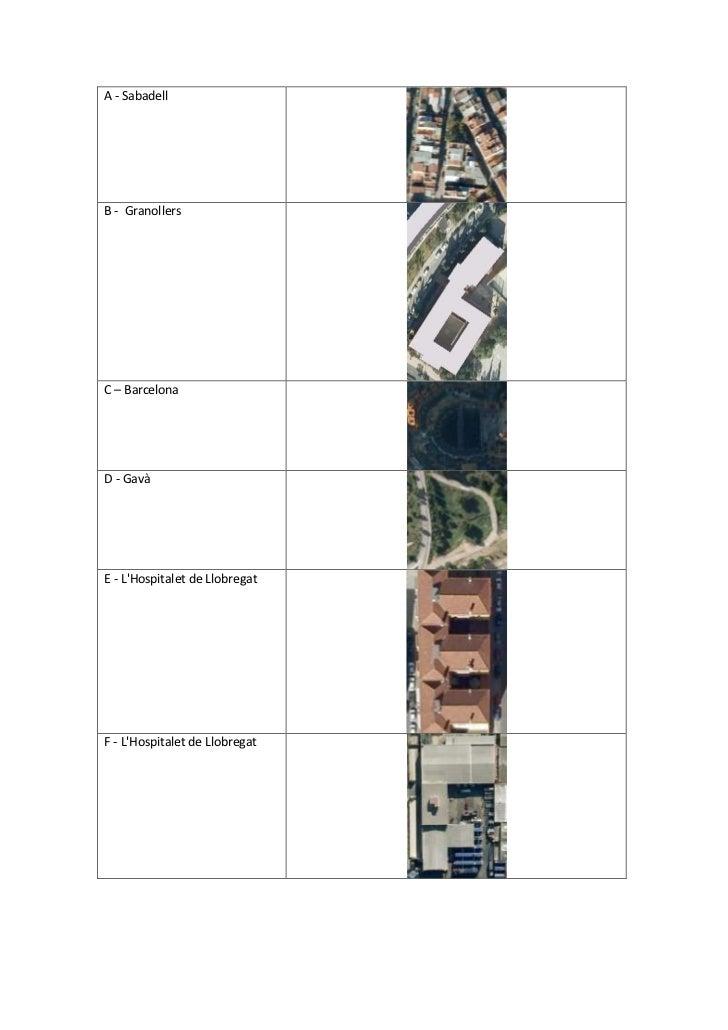 A - SabadellB -  GranollersC – BarcelonaD - GavàE - L'Hospitalet de LlobregatF - L'Hospitalet de LlobregatG – BarcelonaH -...