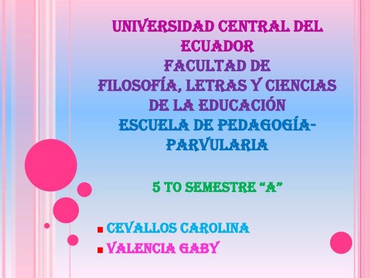 UNIVERSIDAD CENTRAL DEL          ECUADOR        FACULTAD DEFILOSOFÍA, LETRAS Y CIENCIAS      DE LA EDUCACIÓN   ESCUELA DE ...
