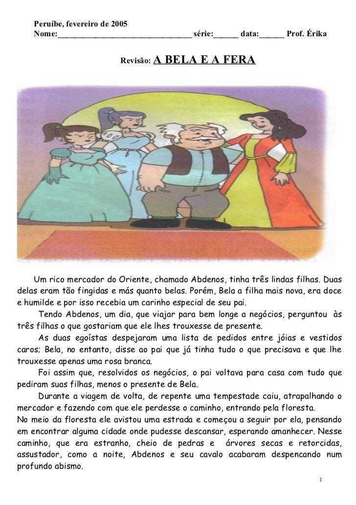 Peruíbe, fevereiro de 2005     Nome:________________________________ série:______ data:______ Prof. Érika                 ...