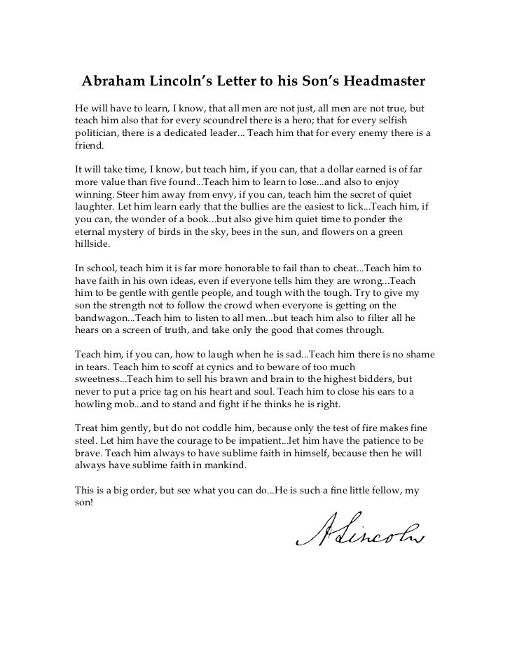 letter to headmaster essay