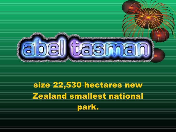size 22,530 hectares new Zealand smallest national park.