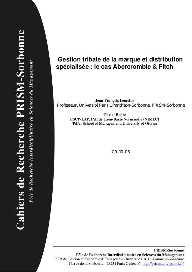 Cahiers de Recherche PRISM-Sorbonne                                                                                       ...