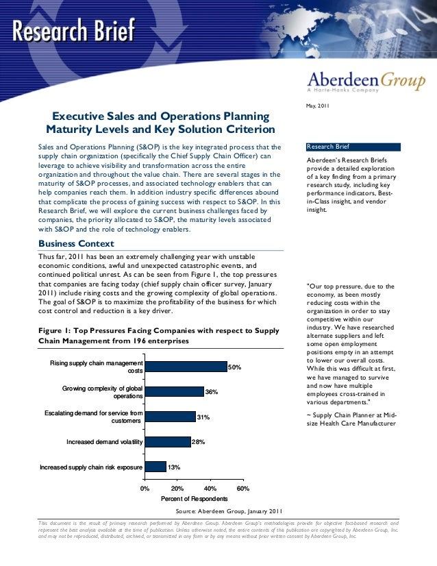 May, 2011    Executive Sales and Operations Planning   Maturity Levels and Key Solution CriterionSales and Operations Plan...