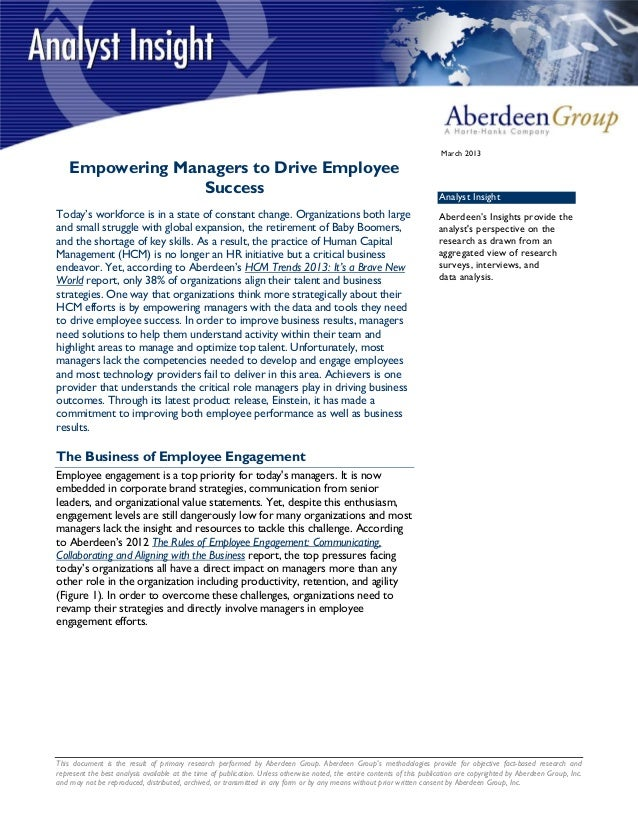 This document is the result of primary research performed by Aberdeen Group. Aberdeen Groups methodologies provide for obj...