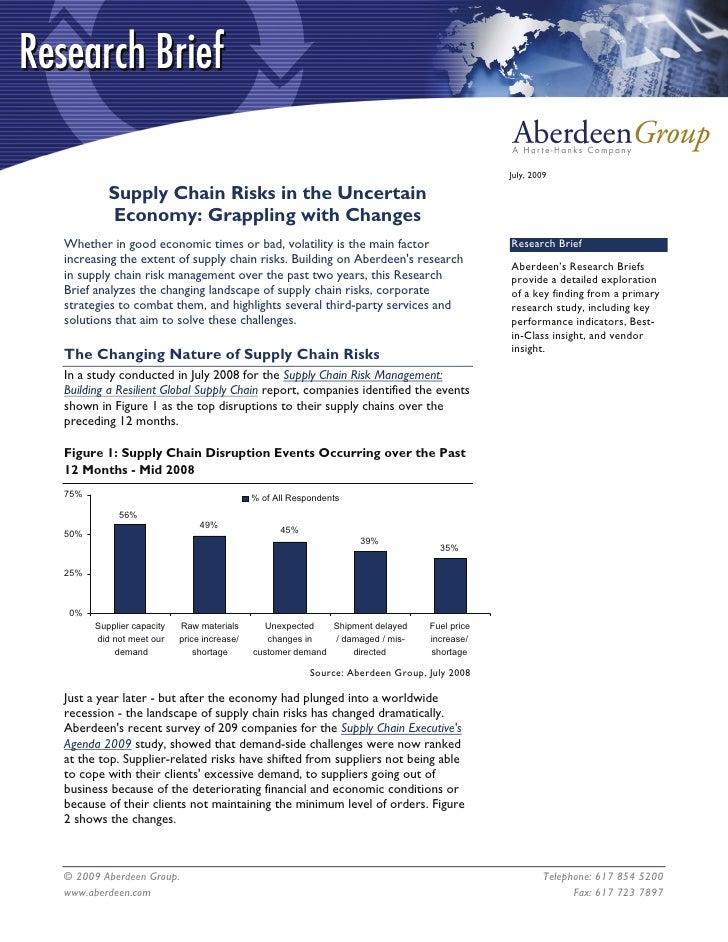Aberdeen Supply Chain Risk Research Brief