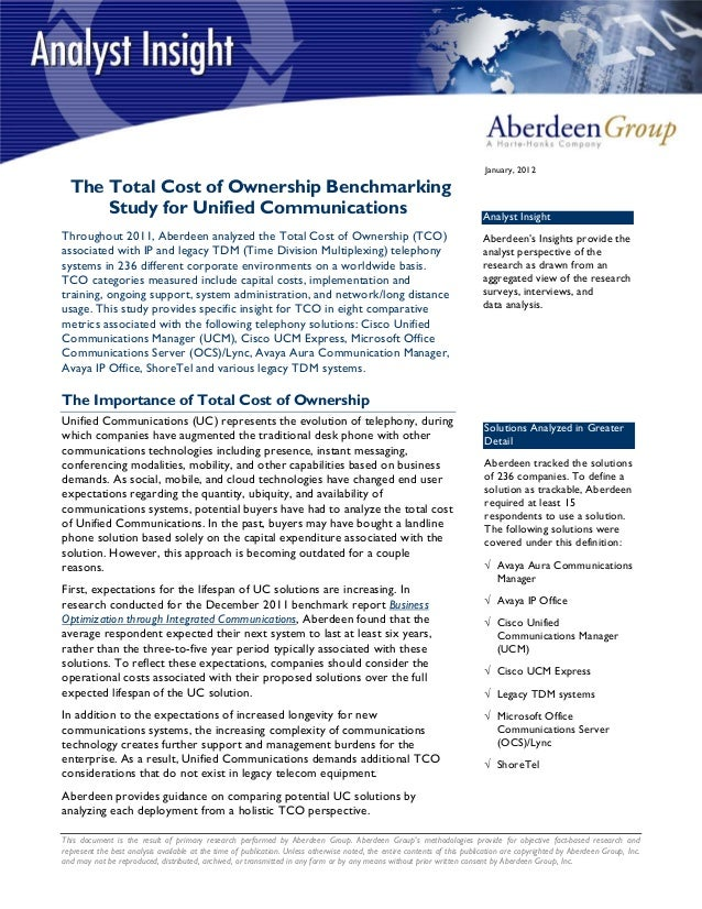 Aberdeen TCO Study for Unified Communications