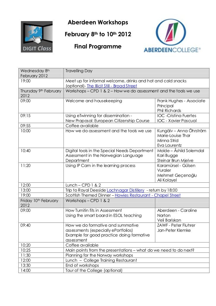 Aberdeen Workshops                        February 8th to 10th 2012                            Final ProgrammeWednesday 8t...