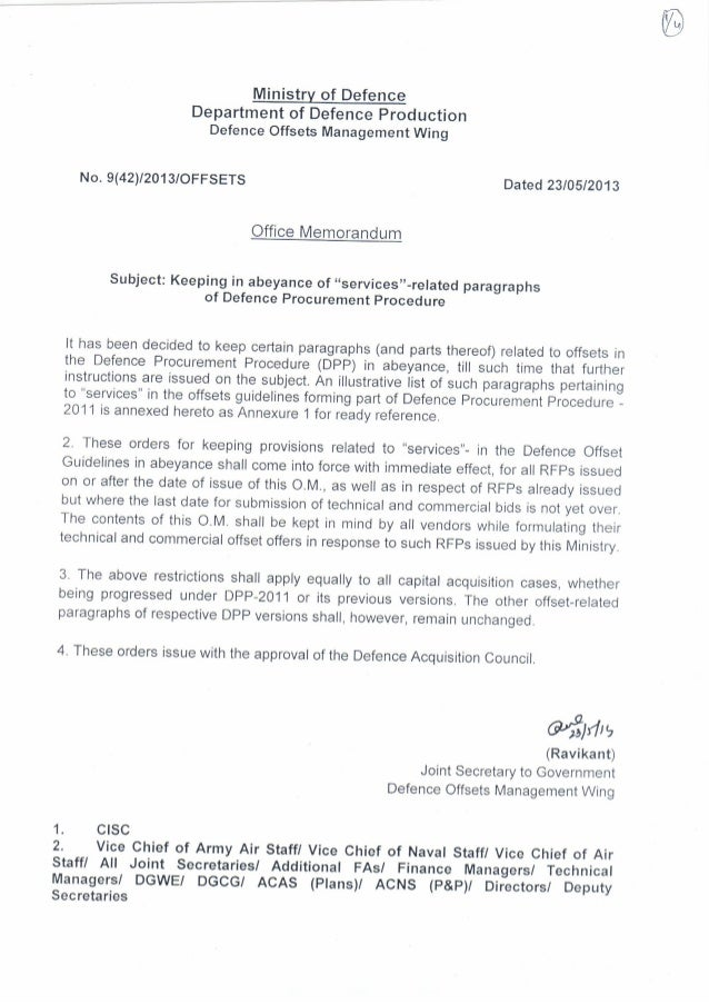 MoD office memo removing SERVICES from eligible offset items