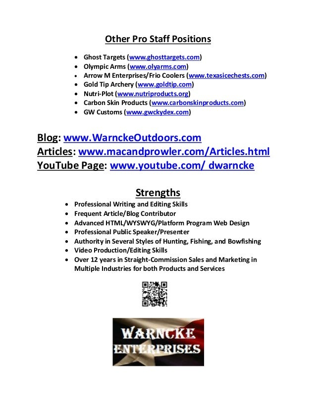 dustin warncke outdoor resume