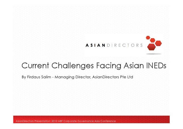 Current Challenges facing Asian Independent Directors