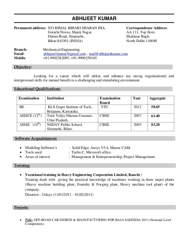 mechanical engineering student resumes