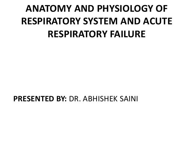 ANATOMY AND PHYSIOLOGY OF RESPIRATORY SYSTEM AND ACUTE RESPIRATORY FAILURE  PRESENTED BY: DR. ABHISHEK SAINI