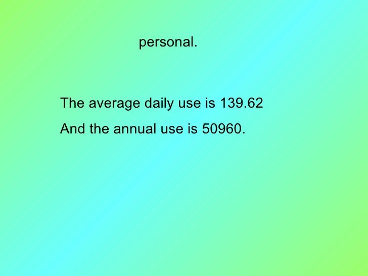 personal. The average daily use is 139.62 And the annual use is 50960.