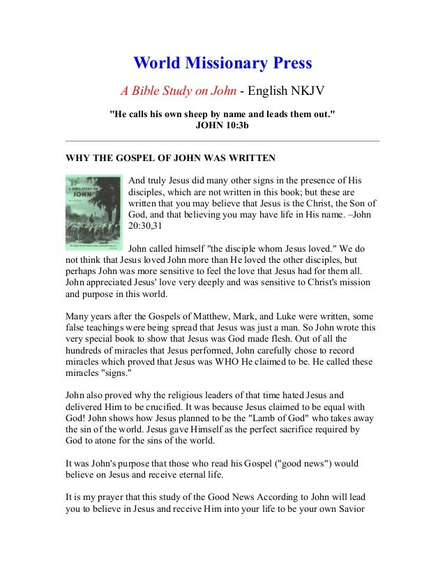 "World Missionary PressA Bible Study on John - English NKJV""He calls his own sheep by name and leads them out.""JOHN 10:3bWH..."