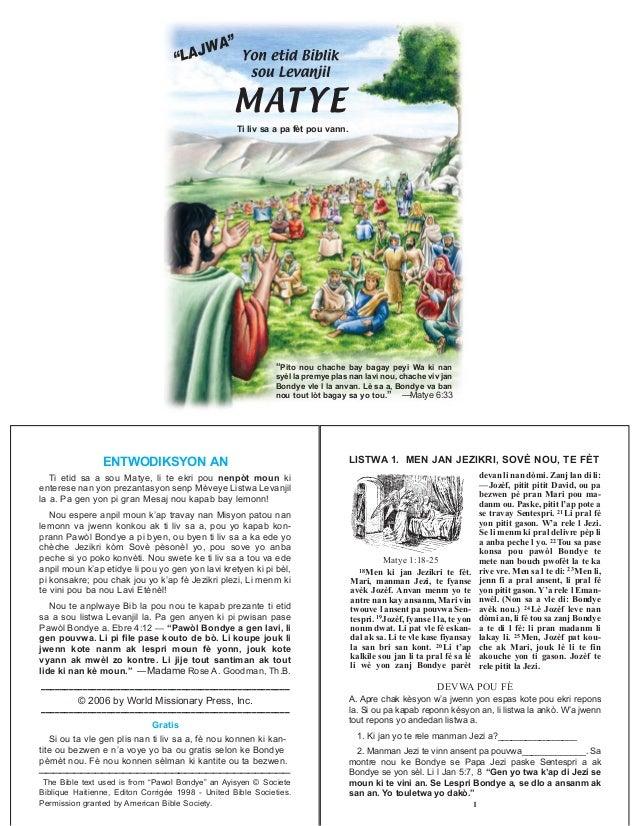 A bible study on matthew kreyol