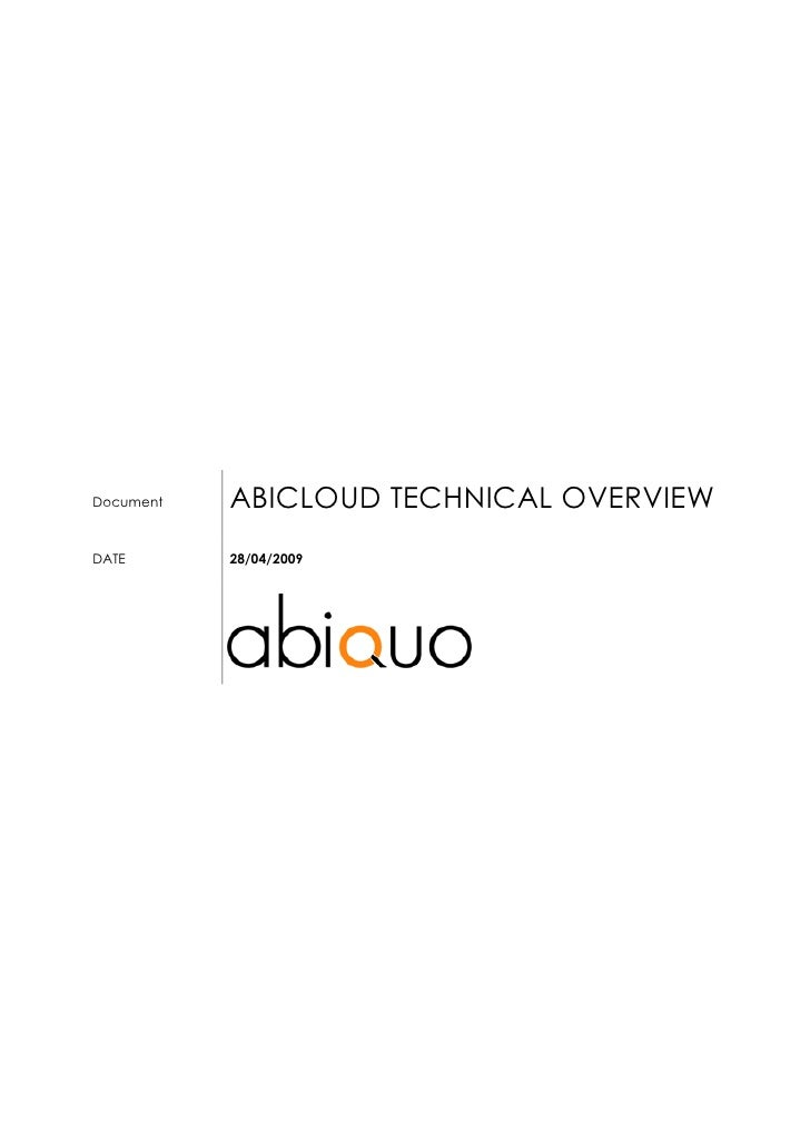 ABICLOUD TECHNICAL OVERVIEW Document    DATE       28/04/2009