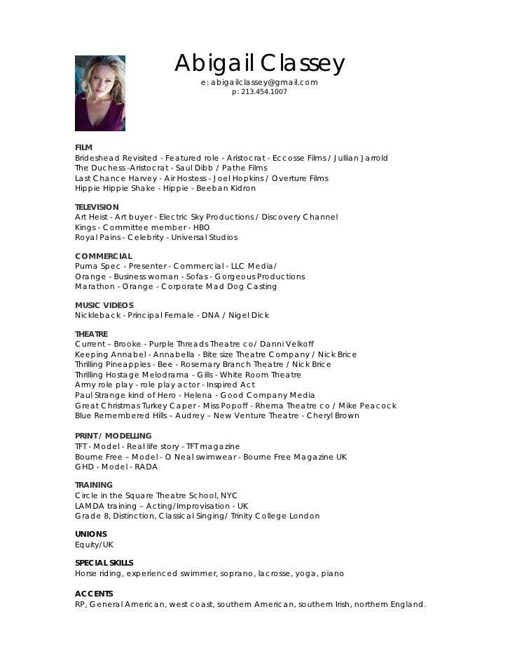 abigail classey acting resume