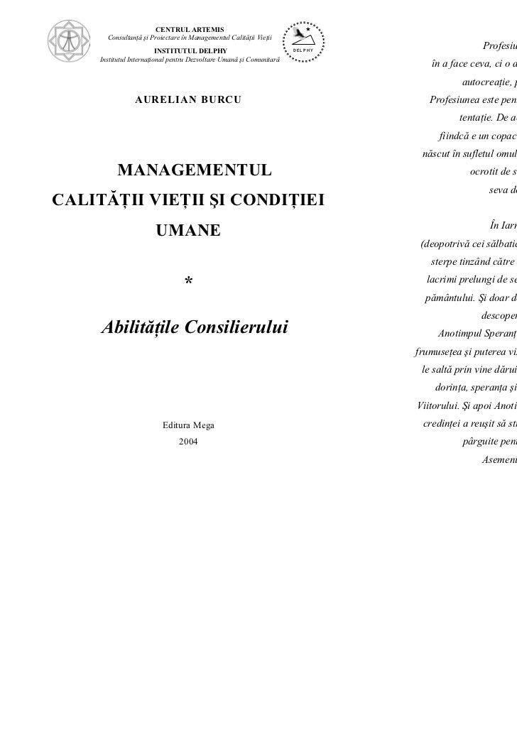 CENTRUL ARTEMIS       Consultanţă şi Proiectare în Managementul Calităţii Vieţii                          INSTITUTUL DELPH...