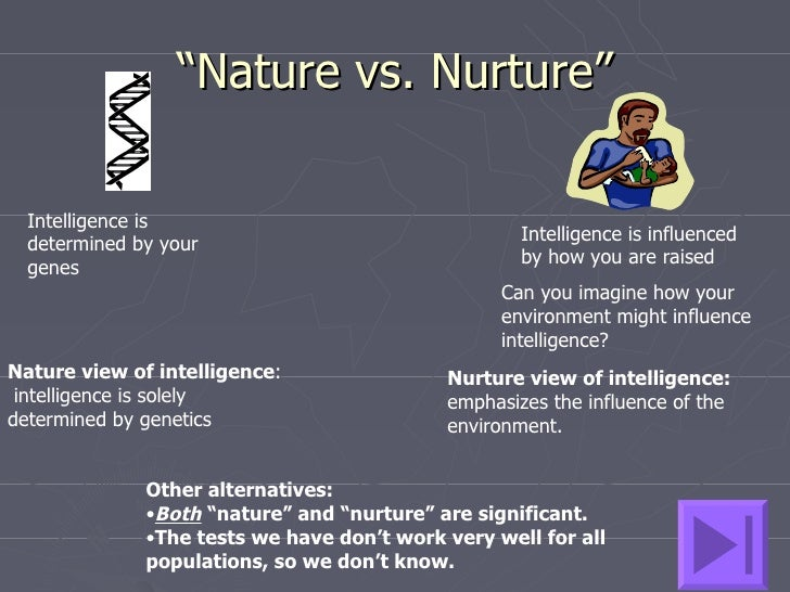 nature vs nurture essay thesis statement Nature vs nurture essay rubric posted may 1, 2012, 11:20 am by ms fleet here is another copy of the assignment sheet, in case you don't have yours with you.