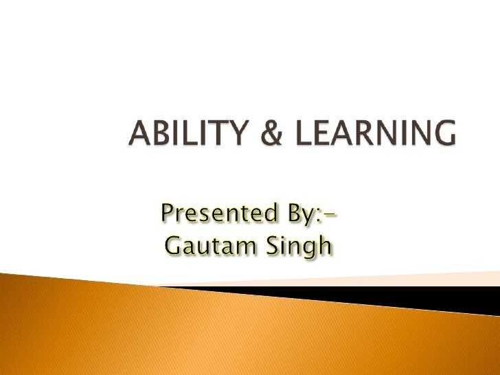 Ability & Learning By Me