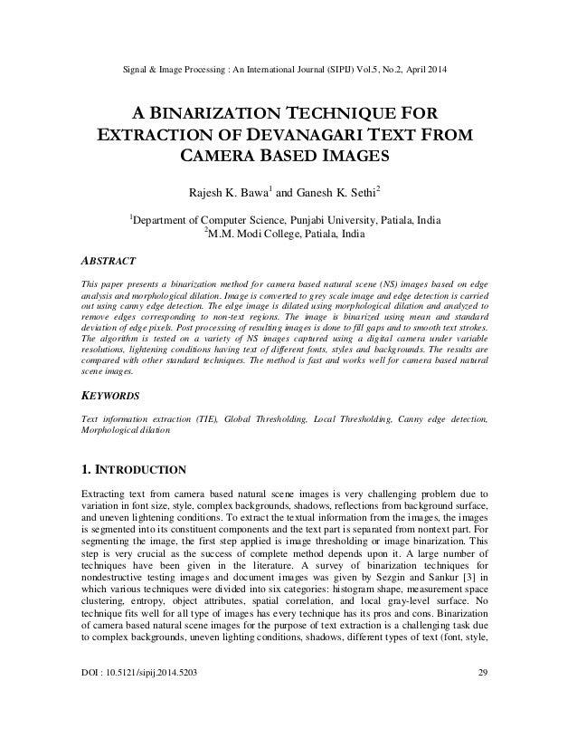 Signal & Image Processing : An International Journal (SIPIJ) Vol.5, No.2, April 2014 DOI : 10.5121/sipij.2014.5203 29 A BI...