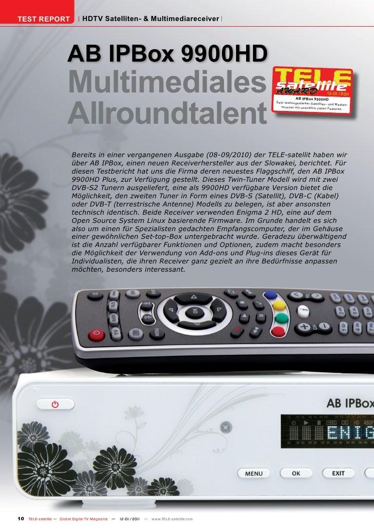 TEST REPORT                   HDTV Satelliten- & Multimediareceiver                       AB IPBox 9900HD                 ...
