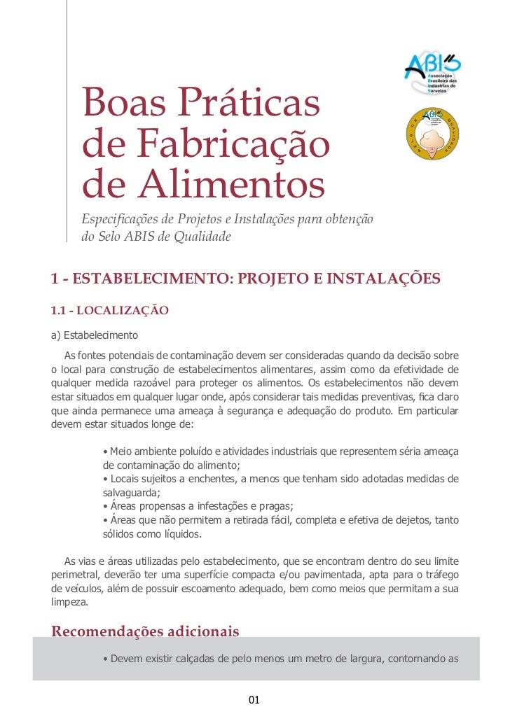 Boas Práticas      de Fabricação      de Alimentos      Especificações de Projetos e Instalações para obtenção      do Sel...